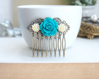Teal Blue, Teal Rose Comb, Ivory Daisy Flower Hair Comb, Bridesmaid Gift. Flower Bridal Comb. Something Blue. Country French, Teal and Ivory