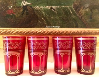 Vintage Set Of 4 Red And Gold Juice Glasses - Free Shipping