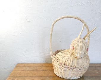 Woven wicker bunny rabbit basket, Easter basket