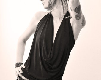 Black Backless Drape Halter PICK YOUR SIZE