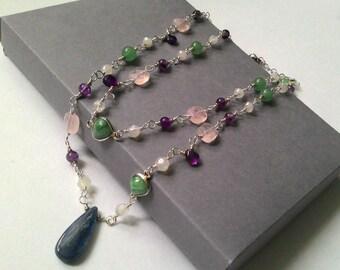 Kyanite, rose quartz, aventurine and moonstone necklace.
