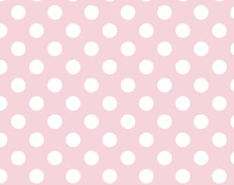 Baby Pink Medium Dots Fabric by Riley Blake Designs. Perfect for baby girl, nursery, quilts & more. 100% cotton. C360-75