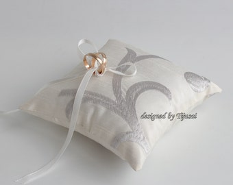 Ivory embroidered  wedding ring bearer pillow, ring bearer pillow, wedding pillow , ring bearer, ring cushion-ready to ship