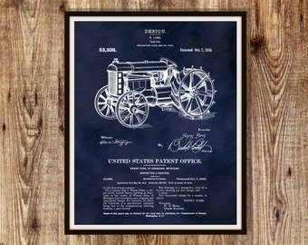 Patent 1919 Ford Tractor Invented by Henry Ford Art Print or Poster - Wall Art - Agriculture Art - Farming - Farm Equipment Patent