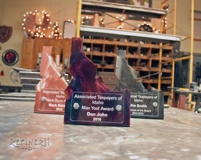 State Shaped Metal Custom Trophy Idaho