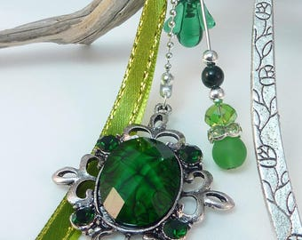 """Large bookmark gem """"green cabochon from India"""""""