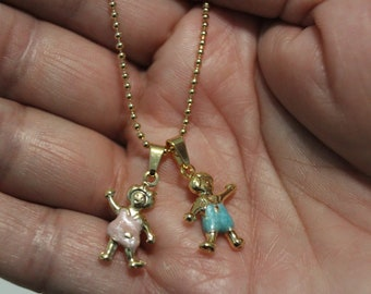 Boy and Girl Necklace, Boy Charm Blue, Girl Charm Pink, Children Charm, Ball Chain Necklace, Gold Chain, Great For Mothers Day