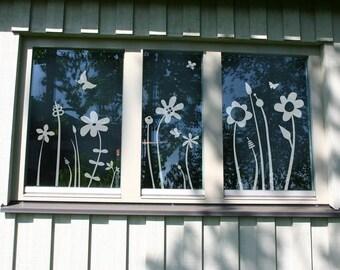 Glastattoo 'Meadow of flowers' - flowers even in winter.