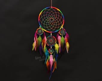 Dream catcher Dreamcatcher American mascots Protective amulet Rainbow color Bright Boho style Native American Home Decor Active