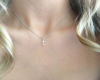 Cross Necklace , Silver Cross Necklace, Sterling Silver Necklace Chain , Dainty Cross Charm Necklace, Christian necklace