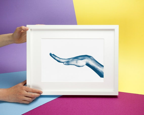 Bending Hand Photo, Anatomy Cyanotype Print on Watercolor Paper, A4 size (Limited Edition)