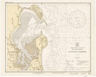Scituate Harbor - 1931 Old Nautical Map - Massachusetts Harbors 232 - Reprint