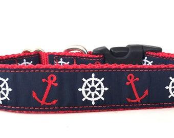 Ship Wheel and Anchor Ribbon Dog Collar