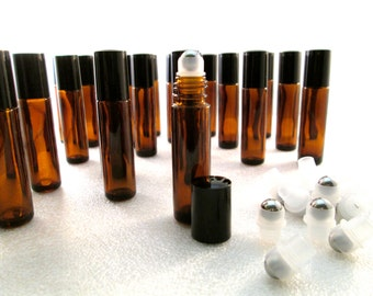 10 Pc Set- Amber 10ml bottles! You Choose Plastic/Glass/Stainless Steel ROLL-ON ball! UV-Protective Fragrance Perfume Essential Oils