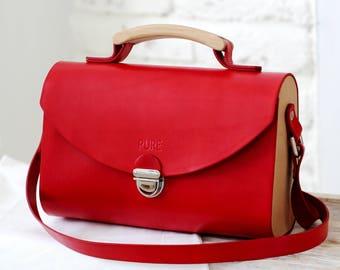Leather handbag SATCHEL RED