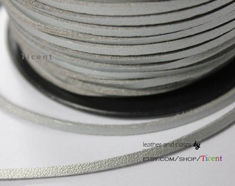 10 Yards 3mm Patent Faux Suede Leather, Metallic Silver Coated Suede Leather CS3M158