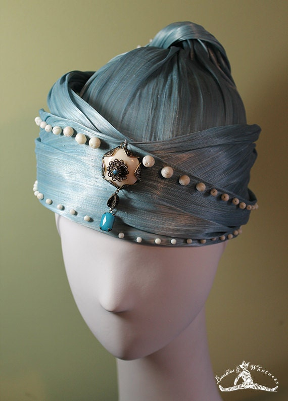 Blue Silk Abaca Turban - Spring Summer Straw Women's Hat - Women's Derby Ascot Hat - OOAK