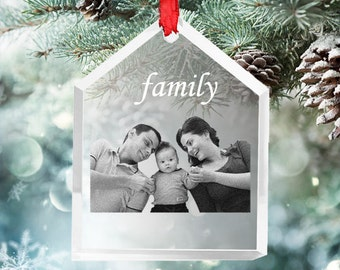 """Photo Crystal Ornament- Laser Engraved Picture in Glass""""Our Family"""" Ornament- SH23 - Free Shipping"""