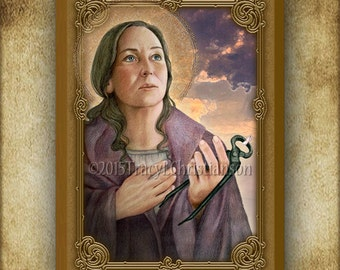 St. Apollonia Wood Icon & Holy Card GIFT SET, Patron Saint of Dentists and Tooth Problems #3058