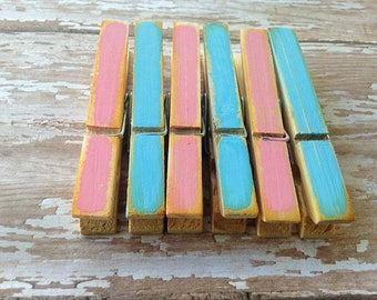 Distressed Clothespin, Pink and Blue Baby Shower Decor, Cottage Chic, Rustic Home Decor, Photo Clips, Wedding Decor, Organize,  Boho Decor