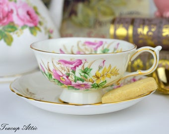 Paragon Footed Teacup and Saucer with Morning Glory Flowers,  English Bone China Tea Cup, ca. 1960-1963