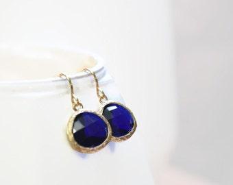 Bright Sapphire Blue Glass Gem Earring