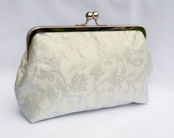Bridal clutch purse, Silver Floral Clutch, Wedding Clutch Purse, Brides Clutch Purse