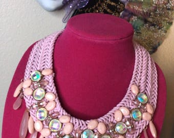 Peach/Blush Pink braided necklace
