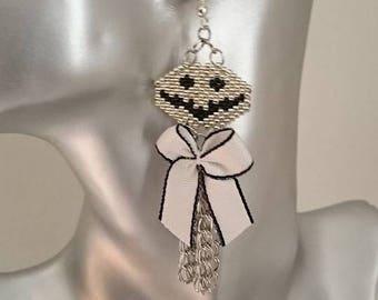 new! great halloween Jack woven peyote earrings