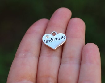 10 pieces Stamped Heart, bride to be heart charm, Heart Charm with Rhinestone, bride to be charm, wedding charm, bride charm B45031H