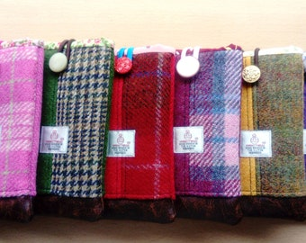 Harris Tweed Mobile Phone or Glasses Case, in Check and Plain Tweeds with Faux Leather Base, Padding, Complimentary Lining and Elastic Loop