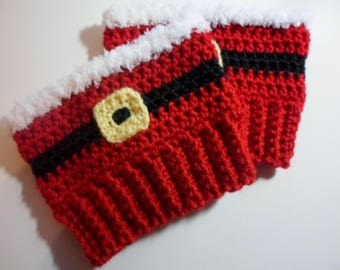 Crocheted (Teen/Adult) Christmas Boot Cuffs, Womens Santa Boot Toppers