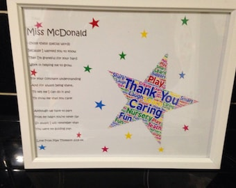 Thank You Poem, Gift For Preschool Teacher, Teachers Leaving Gift, Word Cloud Frames, Gift For Teaching Assistants