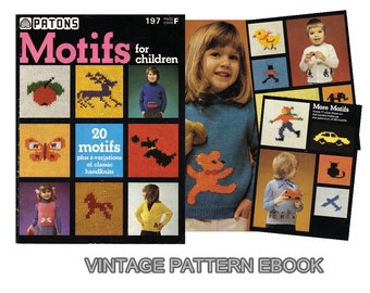 PDF Vintage Patterns 70s Knitting eBook, Motifs and Sweaters pattern for Children, Instant download , No.050