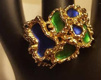 Ring / Blue and Green Enamel Settings In Gold Chunky Toned Setting / Size 9-10