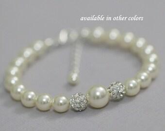 Flower Girl Bracelet,  Swarovski Ivory Pearl Bracelet, Flower Girl Gift, Flower Girl Jewelry, Bridal Party Jewelry, Pearl Bracelet