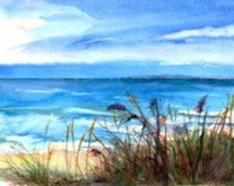 Lake Michigan, Sienna Sandy Beach, Shoreline, Surf, Beach Grass, Turquoise, High-Quality Watercolor Giclee by Janet Dosenberry