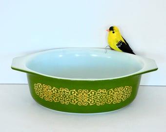 Green Bramble- Gold Scroll on Green- Pyrex Cinderella Casserole Dish- Promotional