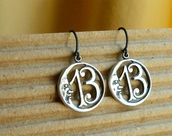 13 Moon Lucky Number Thirteen Earrings