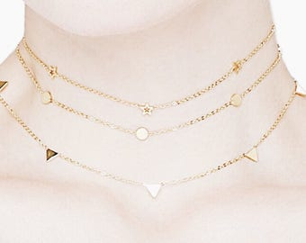 Dainty Star/Circle/Triangle choker necklace_Gold/Rose/Silver
