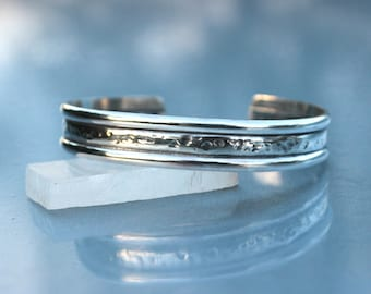 Textured Silver Cuff Bracelet, Sterling Bracelet Cuff, Stacking Bracelet, Silver Cuff, Hammered Style, Boho Chic, Gift for Her