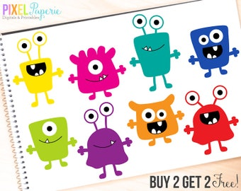 monsters clip art digital aliens clipart - Monsters Digital Clipart - BUY 2 GET 2 FREE