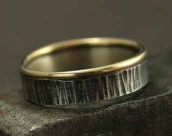 Bark Textured Wedding Ring - The Forest Sentry Band - Men's Wedding Band - Tree Bark Ring - Twig Ring - Bimetal Band - Rustic Wedding Band