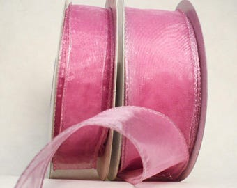 Rose pink sheer wired, wedding gift ribbon, pink tone sheer wired 20 yards