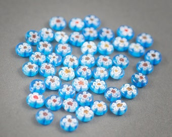 10 pcs - round beads flat millefiori glass flower • blue white red transparent Bohemian, hippie • • 10mm