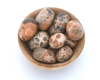 Leopardite jasper tumble stone, tumbled jasper