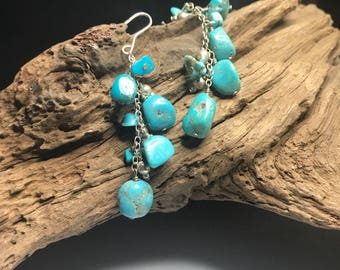 Beautiful TURQUOISE STERLING Silver Dangle BoHo Earrings