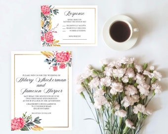 Floral Pink and Navy Wedding Invitation Set