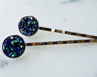 50% off SALE Iridescent druzy silver hair pins