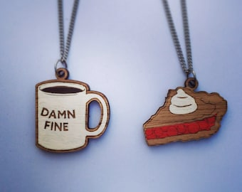 Wood laser cut necklace  - best friends cherry pie and damn fine coffee mug double two pack twin peaks agent cooper
